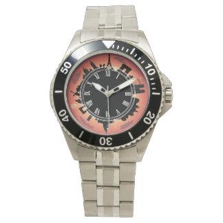 Paris evening skyline red wrist watches