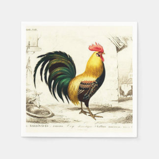 Paris farm rooster any purpose party napkin disposable serviette