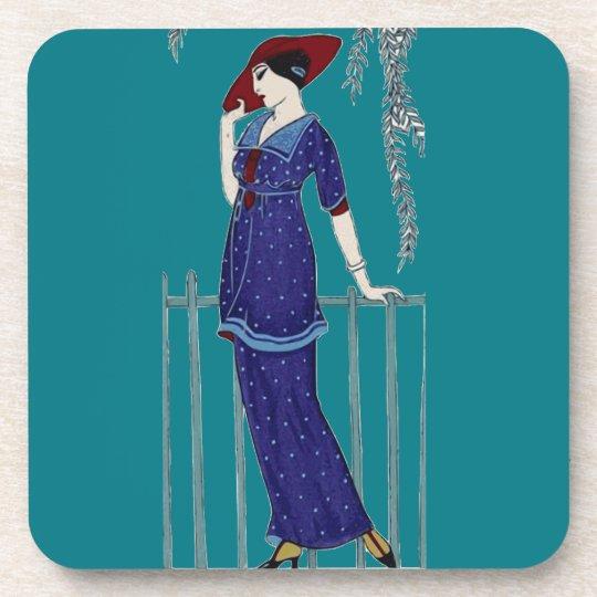 Paris fashion 1920s elegant lady coaster