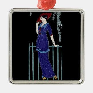 Paris fashion 1920s elegant lady Silver-Colored square decoration