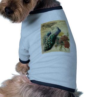 paris fashion girly vintage peacock floral dog t shirt