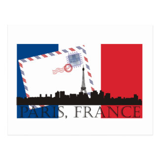 Paris Flag and Skyline Postcard