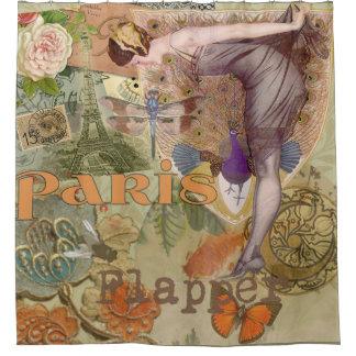 Paris Flapper Peacock Art Deco Lady Vintage Shower Curtain