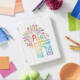Paris France | Arc de Triomphe | Neon Design iPad Cover