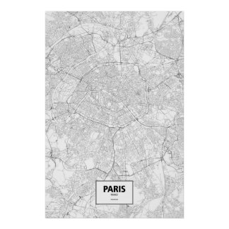 Paris, France (black on white) Poster