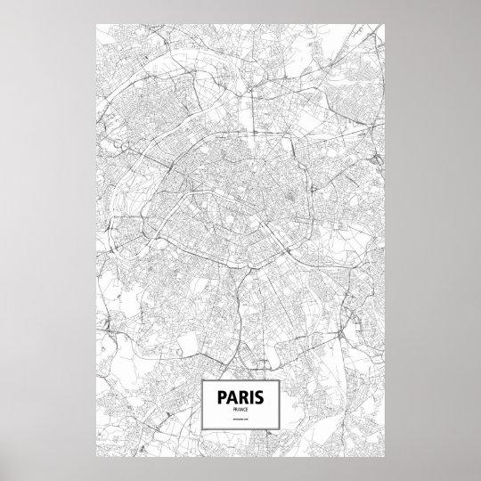 Paris, France (black on white) Poster