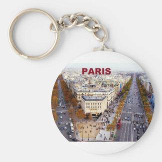 Paris France Champs Elysees (St.K) Basic Round Button Key Ring