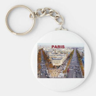 Paris France Champs Elysees (St.K) Basic Round Button Key Ring