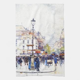 Paris France City Street Scene Art Kitchen Towel
