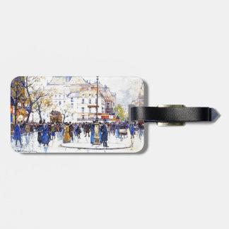 Paris France City Street Scene Art Luggage Tag