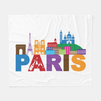 Paris, France | Colorful Typography Fleece Blanket