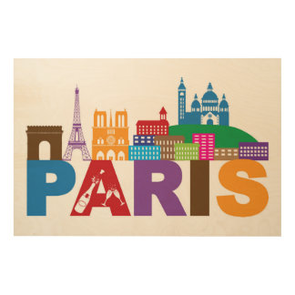 Paris, France   Colorful Typography Wood Print