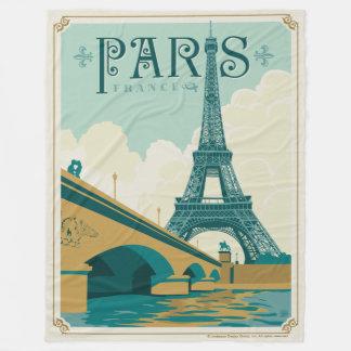 Paris France - Eiffel Tower Fleece Blanket