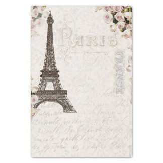 Paris France Eiffel Tower Pink Roses Chic Glamour Tissue Paper