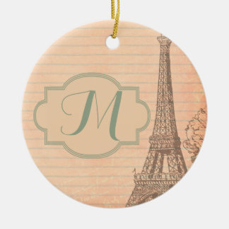 Paris France Eiffel Tower Shabby Chic Ornament