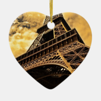 Paris France Eiffel Tower Sunset Christmas Ornament
