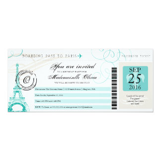 Paris France Eiffel Tower Vintage Boarding Pass 10 Cm X 24 Cm Invitation Card
