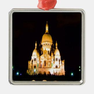 paris france night evening basilique du sacre coeu ornament