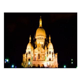 paris france night evening basilique du sacre coeu postcard