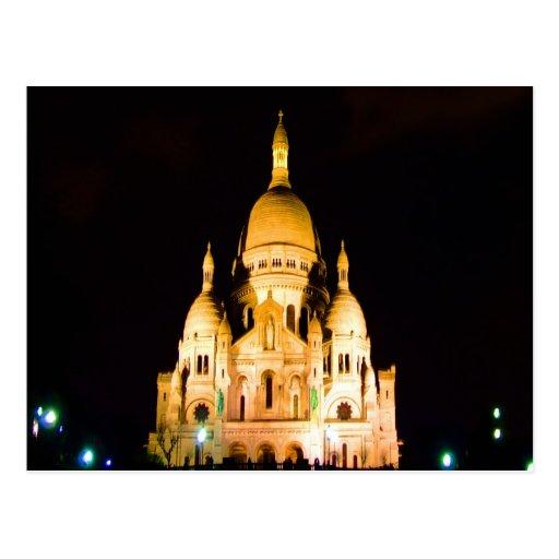 paris france night evening basilique du sacre coeu post card