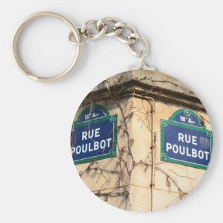 Paris France Rue Poulbot Street signs Basic Round Button Key Ring