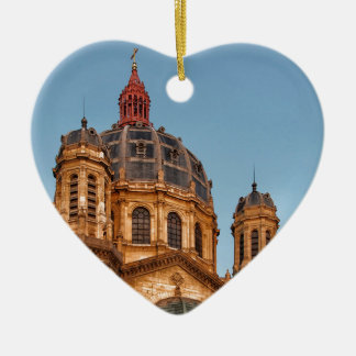 Paris France Saint Augustin Landmark Historic Sky Ceramic Heart Decoration