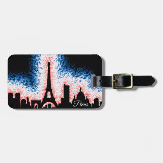 Paris France Silhouette Luggage Tag
