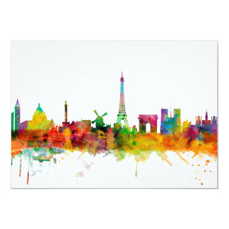 Paris France Skyline Card