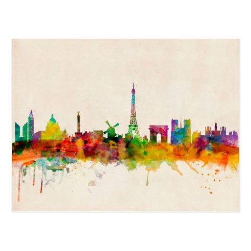 Paris France Skyline Cityscape Postcards