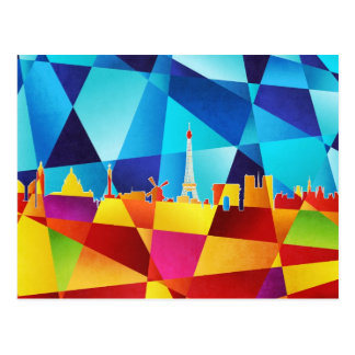 Paris France Skyline Cityscape Postcard