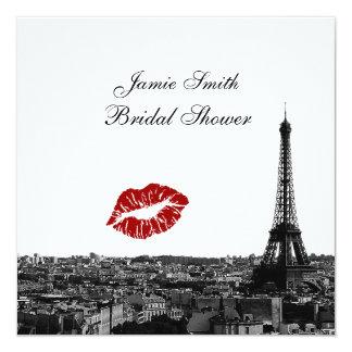 Paris France Skyline Kiss #1 BW Bridal Shower 13 Cm X 13 Cm Square Invitation Card