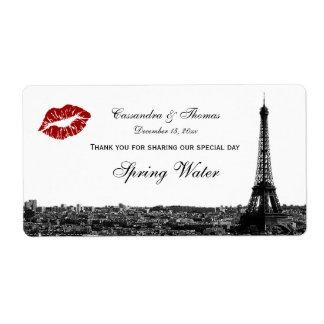 Paris France Skyline Kiss #1 BW H TY Water Bottle