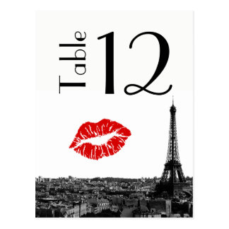 Paris France Skyline Kiss #1 BW Table Number Card Postcard