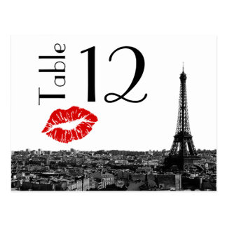 Paris France Skyline Kiss #1 BW Table Number Card Postcard