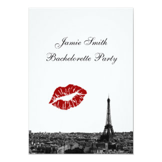 Paris France Skyline Kiss #1 BW V Bachelorette 13 Cm X 18 Cm Invitation Card