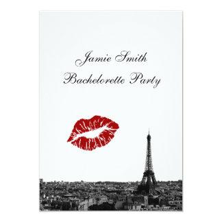Paris France Skyline Kiss #1 BW V Bachelorette 5x7 Paper Invitation Card