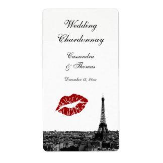 Paris France Skyline Kiss #1 BW Wine Label