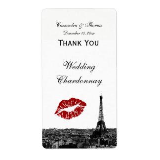 Paris France Skyline Kiss #1 BW Wine Label TY