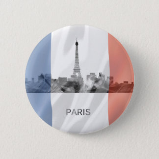 Paris, France Skyline with French Flag 6 Cm Round Badge