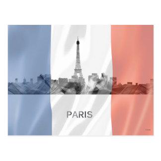 Paris, France Skyline with French Flag Postcard