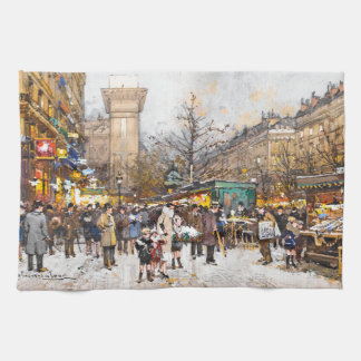 Paris France Street Scene Flowers Kitchen Towel