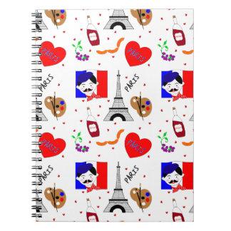 Paris France Themed Cute Fun Red White Blue Design Notebook