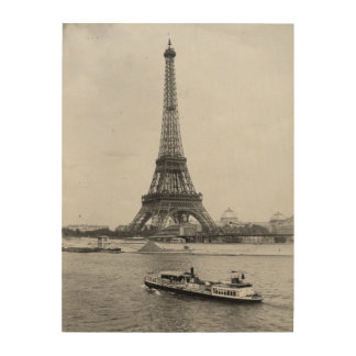 Paris,France: view of Eiffel tower and Seine river Wood Print