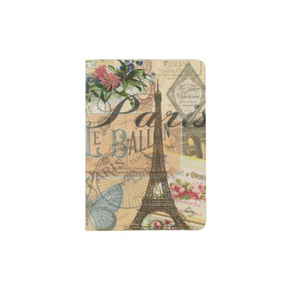 Paris France Vintage Travel Collage Passport Holder