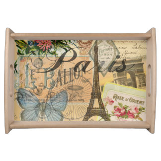 Paris France Vintage Travel Collage Serving Tray