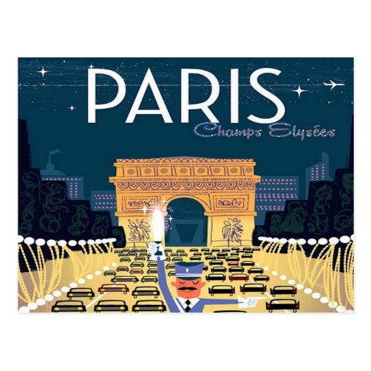 Paris France Vintage Travel retro tourism vacation Postcard