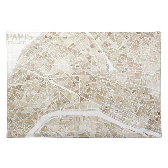 Paris France watercolor map placemat