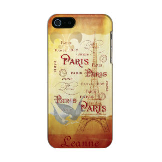 Paris French Collage in Gold and Wine Incipio Feather® Shine iPhone 5 Case