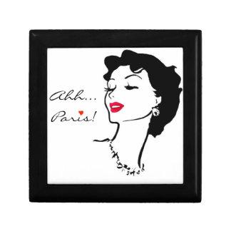 Paris French Vintage Woman 1950s Classic Elegant Small Square Gift Box