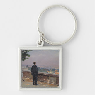 Paris from the observatory at Meudon Silver-Colored Square Key Ring
